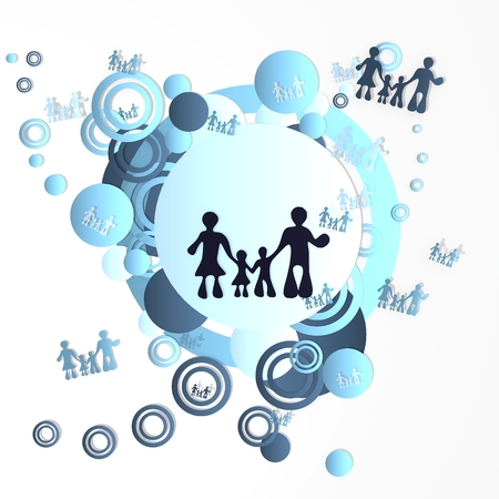 trendy art family icon in front of a happ party art background with flying family icons isolated on white background photo