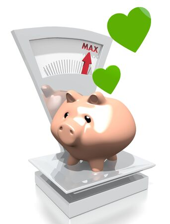 max: illustration of a money heart pig with max weight on a scale isolated on white background