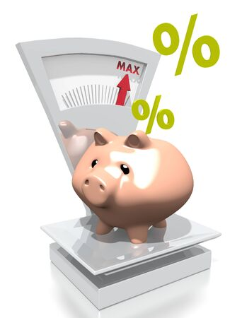 max: illustration of a money percent pig with max weight on a scale isolated on white background Stock Photo