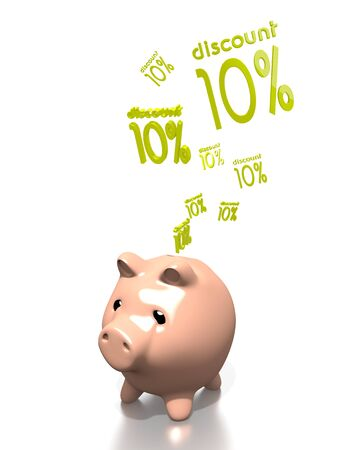 ten best: a 3d rendered money pig saves discount isolated on white background Stock Photo