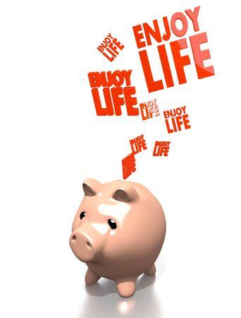 enjoy life: un 3d rendering soldi maiale salva godersi la vita isolata su sfondo bianco