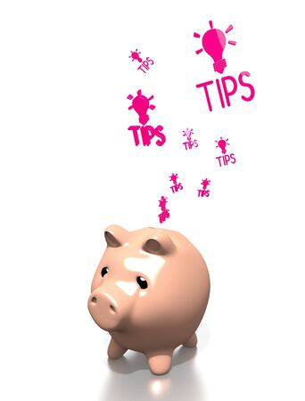 know how: a 3d rendered money pig saves tip isolated on white background