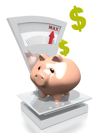 max: illustration of a money Dollar pig with max weight on a scale isolated on white background
