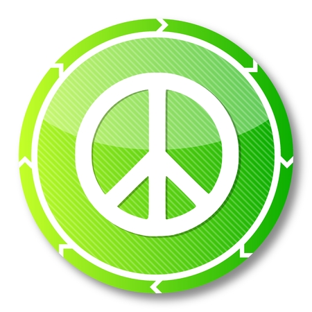 harmful: sustainable eco button with a peace icon on it and circular arrows isolated on white background
