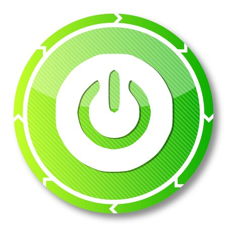 activate: renewable eco button with a on symbol on it and circular arrows isolated on white background