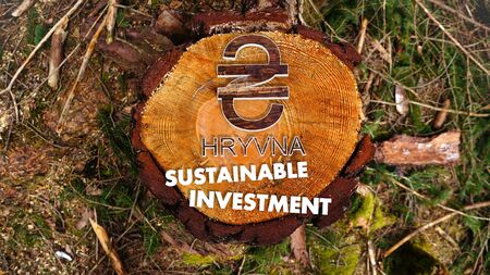 hryvna: concept image for sustainable investment in Ukraine Hryvna market with the symbol Ukraine Hryvna situated on an nature wood