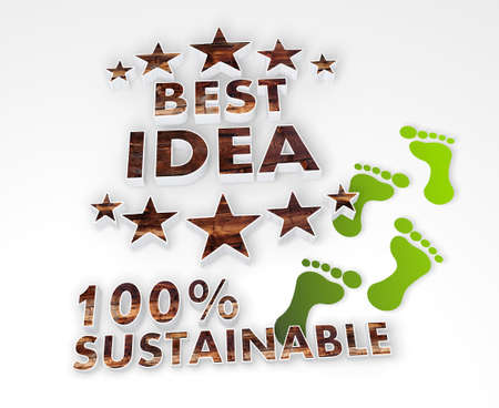 think tank: ecological best idea icon with 100 percent sustainable caption as stylish 3d graphic with old wooden texture and footprints
