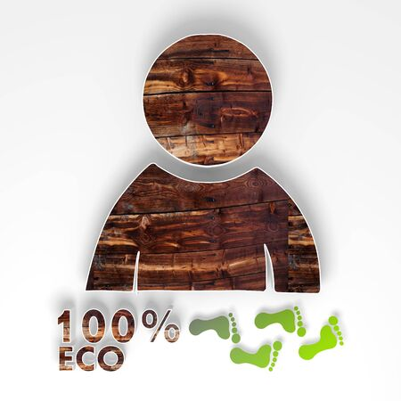 natural man icon with 100 percent eco caption as stylish button with old wooden texture and footprints isolated on white background photo