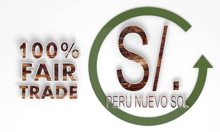 sol: fair trade 3d Peru Nuevo Sol symbol with wooden ecological texture