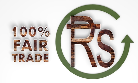fairtrade: fair trade 3d Rupee label with wooden ecological texture
