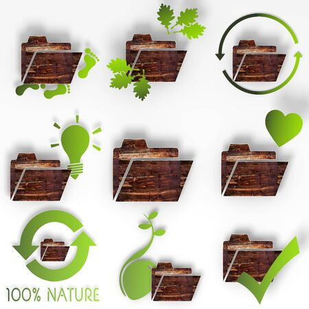 sort out: eco folder symbol set with organized stylish 3d signs with old wooden texture isolated on white background Stock Photo