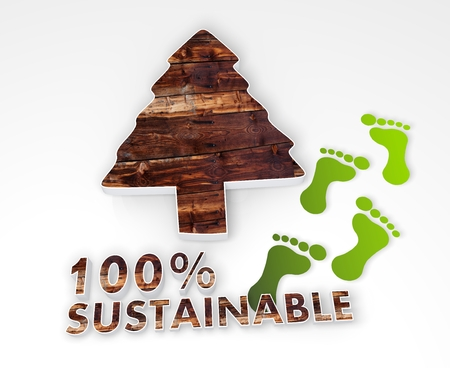 autumnn: nature abstract conifer icon with 100 percent sustainable caption as stylish 3d graphic with old wooden texture and footprints Stock Photo