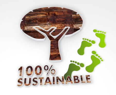 autumnn: abstract abstract tree icon with 100 percent sustainable caption as stylish 3d graphic with old wooden texture and footprints