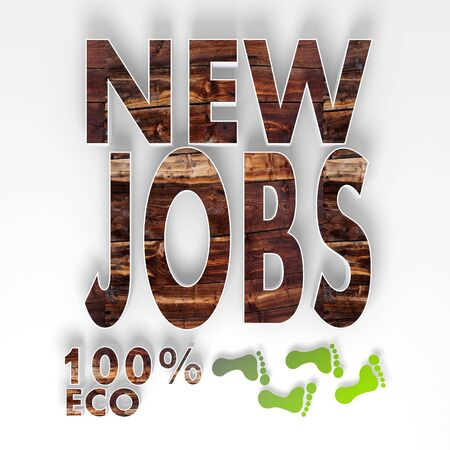 ecology new jobs symbol with 100 percent eco caption as stylish button with old wooden texture and footprints isolated on white background photo