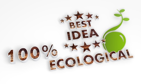 think tank: ecological 3d sign of a sustainable best idea in wood with a green seed next to it