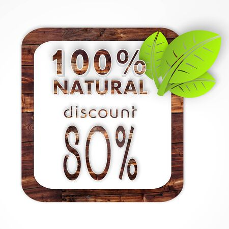 biologic: 100 percent natural button with 3d element on it n wooden biologic texture isolated on white background