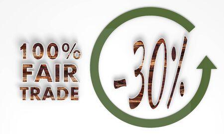 fairtrade: fair trade 3d label with wooden ecological texture