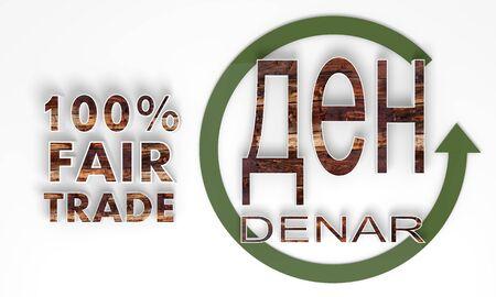 fairtrade: fair trade 3d Macedonia Denar symbol with wooden ecological texture