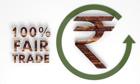 fairtrade: fair trade 3d Pakistan Rupee label with wooden ecological texture Stock Photo