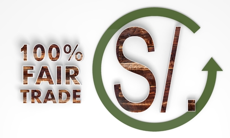 sol: fair trade 3d Peru Nuevo Sol sign with wooden ecological texture Stock Photo