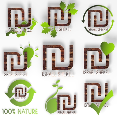 eco Israel Shekel symbol set with ecological stylish 3d signs with old wooden texture isolated on white background photo