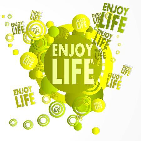 enjoy life: arte decorativa godere simbolo di vita di fronte a una felice festa di arte background con volare godere icone di vita isolato su bianco Archivio Fotografico