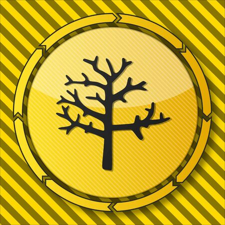 autumnn: construction safety button with a abstract stump symbol on it and circular arrows on striped yellow building site background Stock Photo