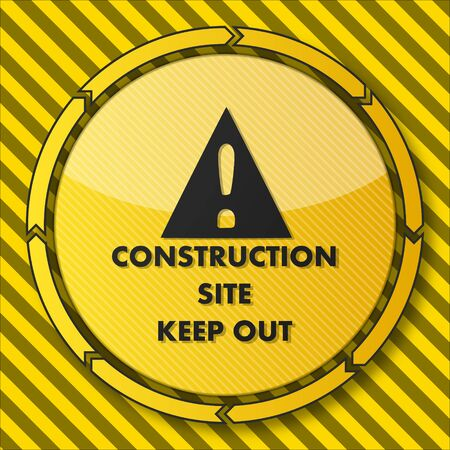construction dangerous button with a construction site icon on it and circular arrows on striped yellow building site background photo