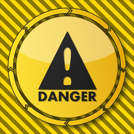 stay alert: construction service button with a Danger icon on it and circular arrows on striped yellow building site background Stock Photo