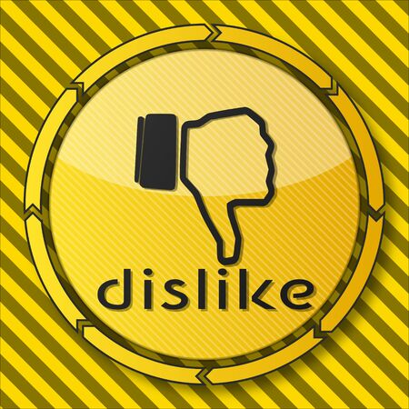 dislike it: construction service button with a dislike sign on it and circular arrows on striped yellow building site background Stock Photo