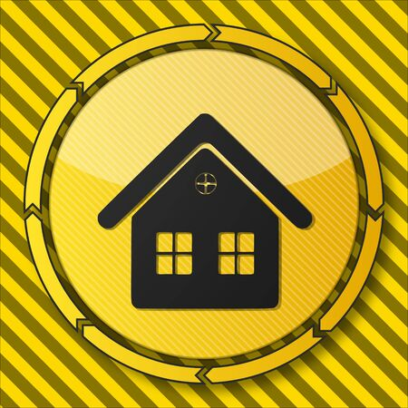 construction little button with a house symbol on it and circular arrows on striped yellow building site background photo