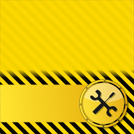 construction service background with a mechanic sign on it and circular arrows on striped yellow danger background photo