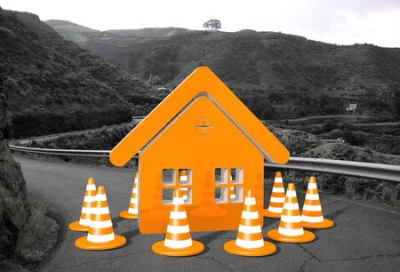 orange house sign on a countryside road in  photo