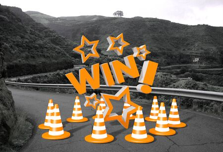 orange win symbol on a countryside road in  photo