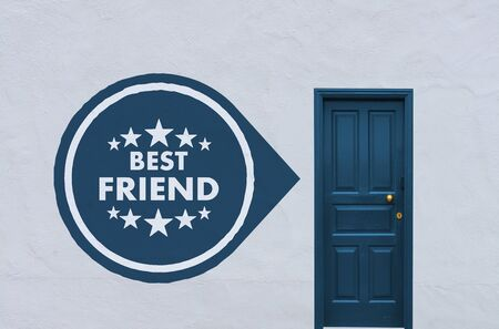 closed society: concept image of a wooden blue entry door in a white wall with a best friend sign on the left side