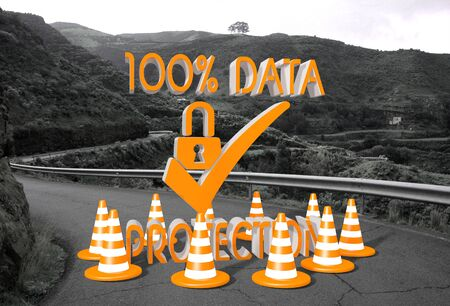 ciphering: orange data protection sign on a countryside road in