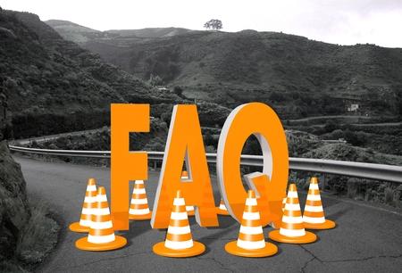 orange faq symbol on a countryside road in  Stock Photo