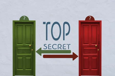 arcane: where is the top secret behind the red or the green door? A concept image showing two old doors with a top secret symbol painted on the wall in between