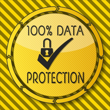 ciphering: construction safety button with a data protection symbol on it and circular arrows on striped yellow building site background