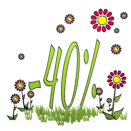 spring flower hand drawn sketch of  discount with childish flowers on white background