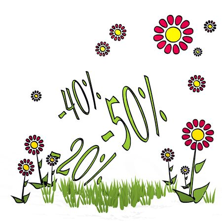 spring flower hand drawn sketch of  discount with creative flowers on white background Stock Photo