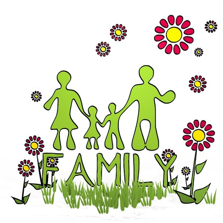 fantasize: spring flower hand drawn sketch of family with childish flowers on white background