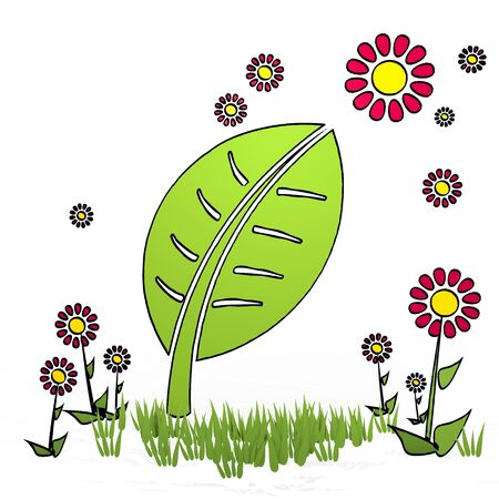 spring flower hand drawn sketch of leave with childish flowers on white background Stock Photo