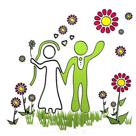 spring flower hand drawn sketch of marriage with childish flowers on white background