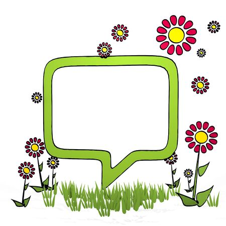 fantasize: spring flower hand drawn sketch of speech balloon with childish flowers on white background