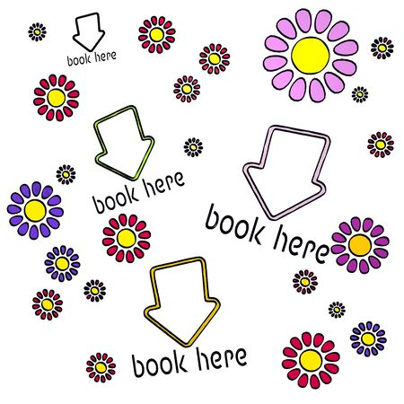 happy spring flower hand drawn sketch of four book here with childish flowers on white background