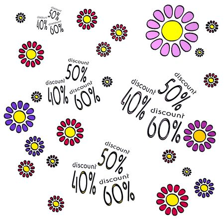 happy spring flower hand drawn sketch of four discount with happy flowers on white background