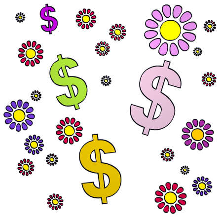 happy spring flower hand drawn sketch of four Dollar with fresh flowers on white background