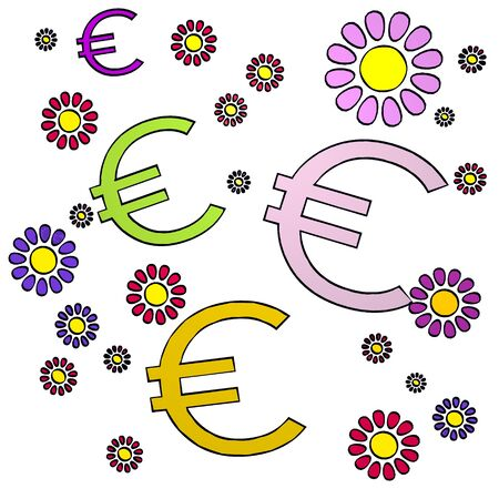 fantasize: happy spring flower hand drawn sketch of four Euro with fresh flowers on white background
