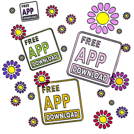 happy spring flower hand drawn sketch of four free app download with simple flowers on white background